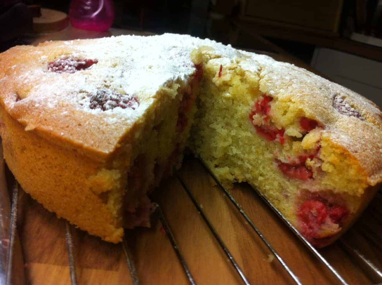 Raspberry and Almond Madeira Cake