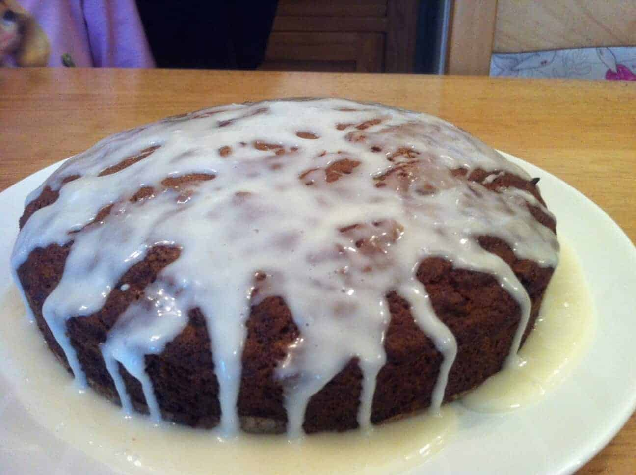 Carrot cake with drizzled orange icing - BakingQueen74