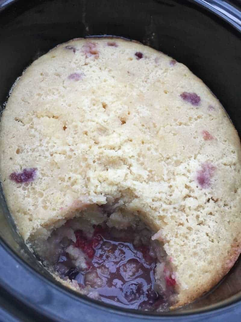 Slow Cooker Lemon and Mixed Berry Self-Saucing Pudding