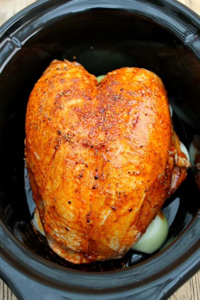 Turkey breast rubbed with spices in slow cooker pot.