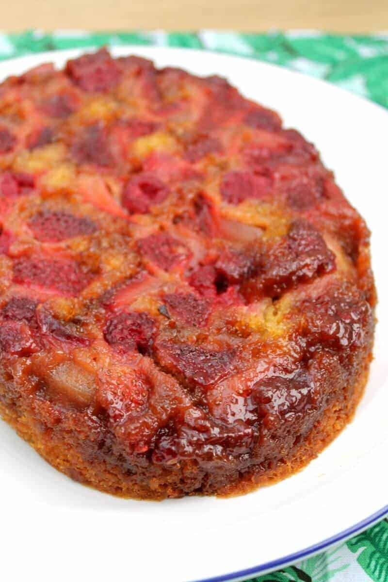 Make a cake in a slow cooker - a berry upside down cake made in an oval slow cooker