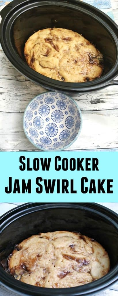 Slow Cooker Jam Swirl Cake - try this tasty dessert right away!
