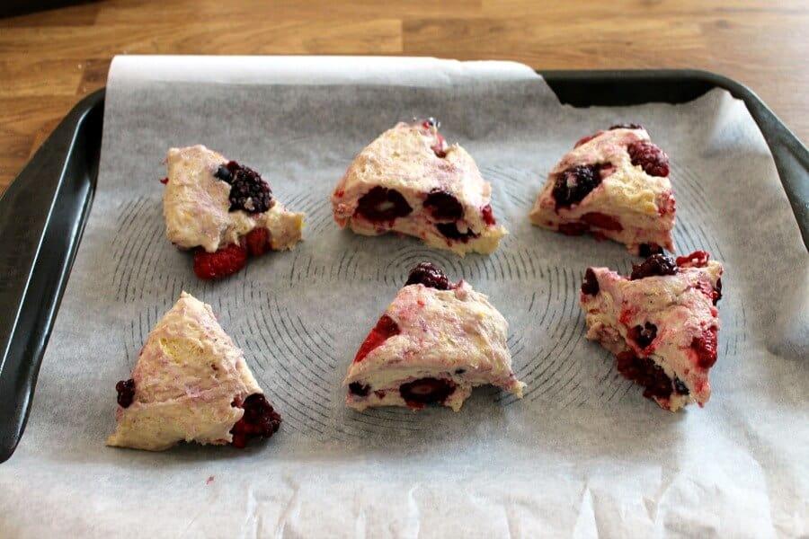 Lemon Berry Scones - triangle scones ready to bake