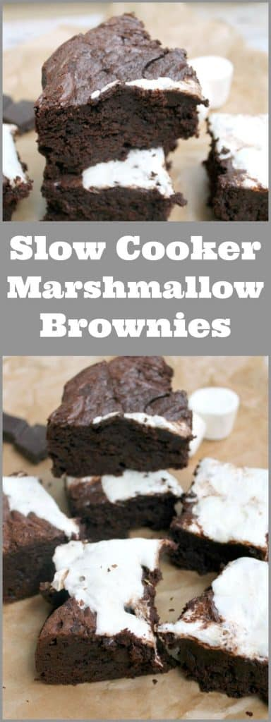 Slow cooker marshmallow brownies - a rich and indulgent bake in your crockpot!