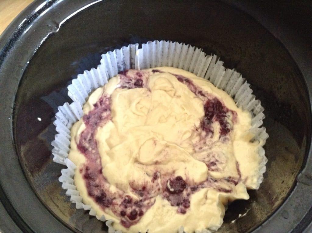 Slow Cooker Lemon and Blackberry Cake