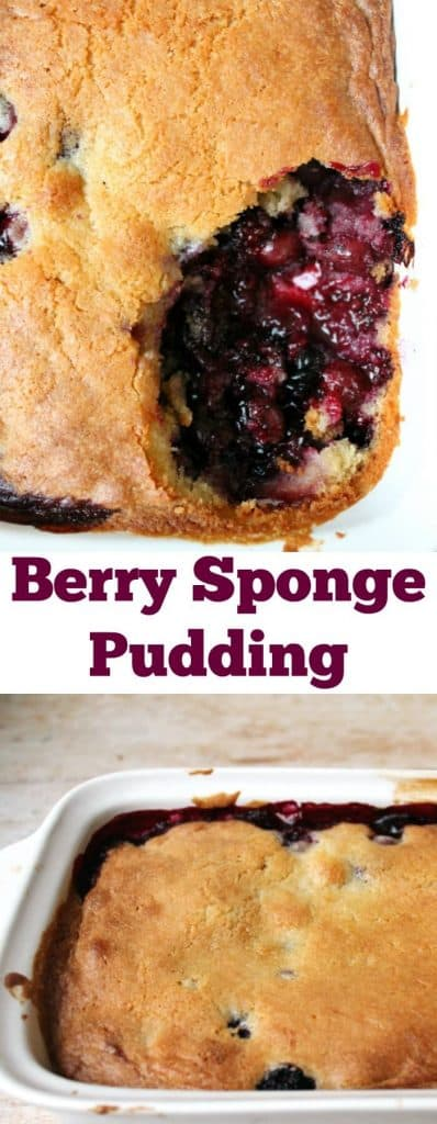 Berry sponge pudding - a quick and easy dessert to make using frozen berries #baking #dessert #berries