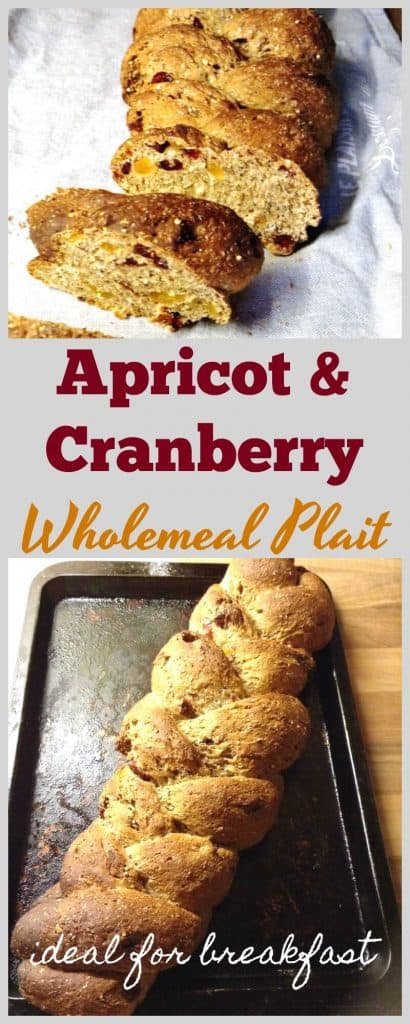 Apricot and cranberry wholemeal seeded plait recipe