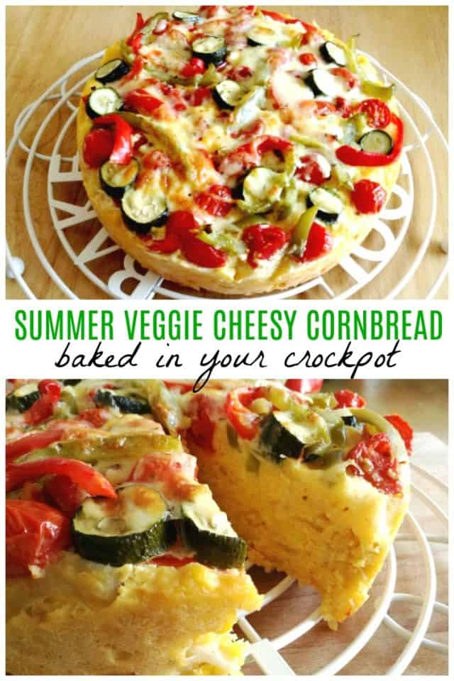 Slow cooker veggie cheesy cornbread - a delicious side dish you can bake in your slow cooker, perfect for summery light meals