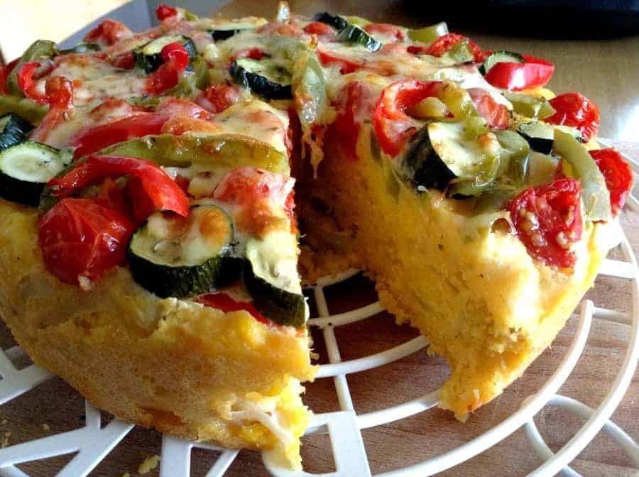 Slow cooker summer vegetable cheesy cornbread