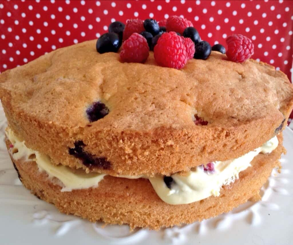 Coconut, Raspberry and Blueberry Cake