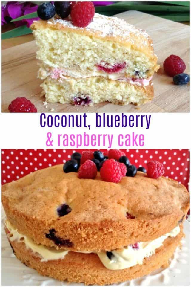 Coconut, blueberry and raspberry cake recipe - a wonderful summery cake full of summer fruit and cream and with a hint of coconut