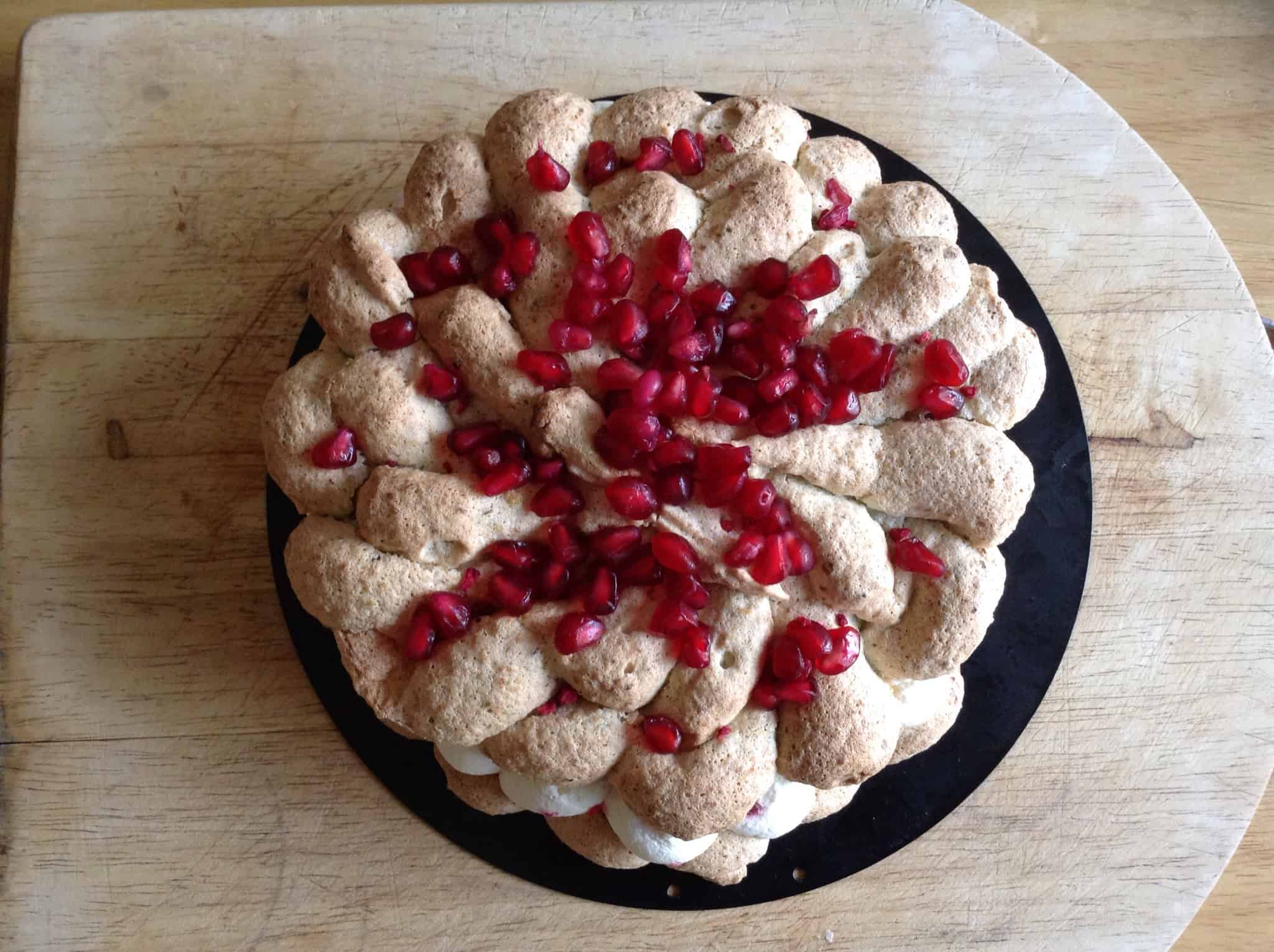 Pistachio Dacquoise with Raspberry and Pomegranate