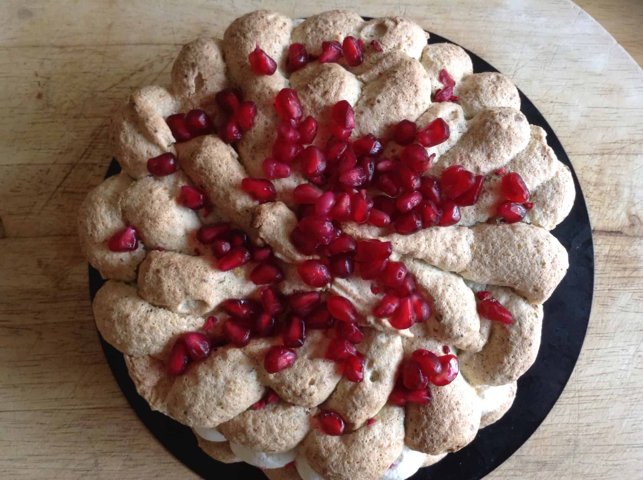 Pistachio Dacquoise with Raspberry and Pomegranate - BakingQueen74