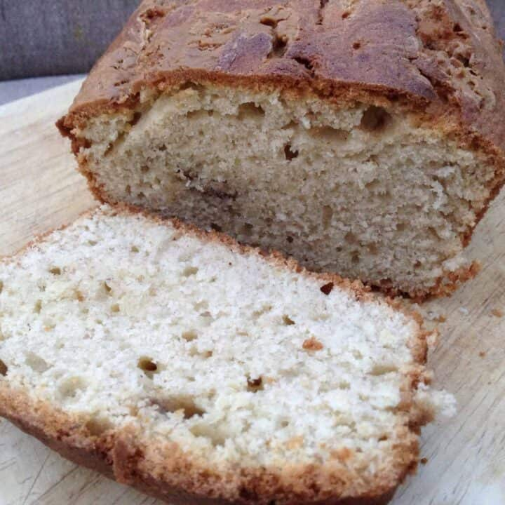 Close up of a banana loaf cake, cut open