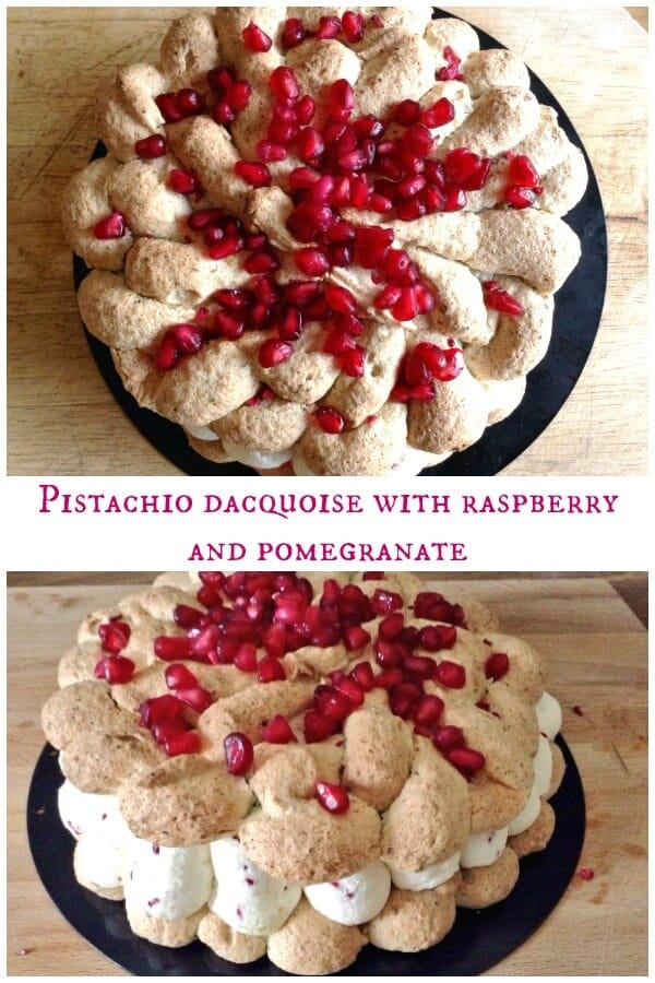 Pistachio dacquoise with raspberry and pomegranate - a summery dessert for special occasions