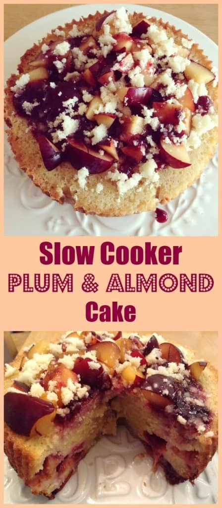Slow cooker plum and almond cake, perfect with a cup of tea or coffee as a delicious snack