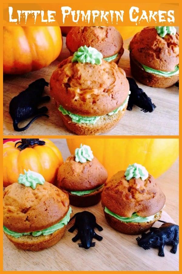 Pumpkin cake collage.