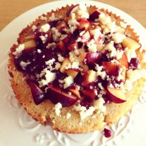 Slow cooker plums & almond cake