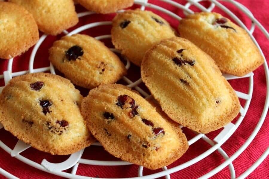 Cranberry and orange madeleines