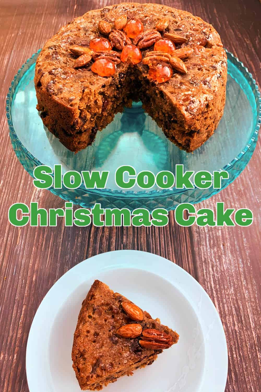 Slow cooker Christmas Cake Pinterest image.