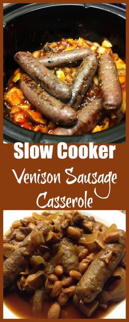 Slow cooker venison sausage casserole with borlotti beans