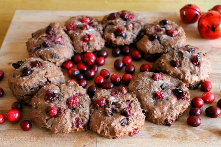 Chocolate cranberry scone wreath - a lovely festive centrepiece
