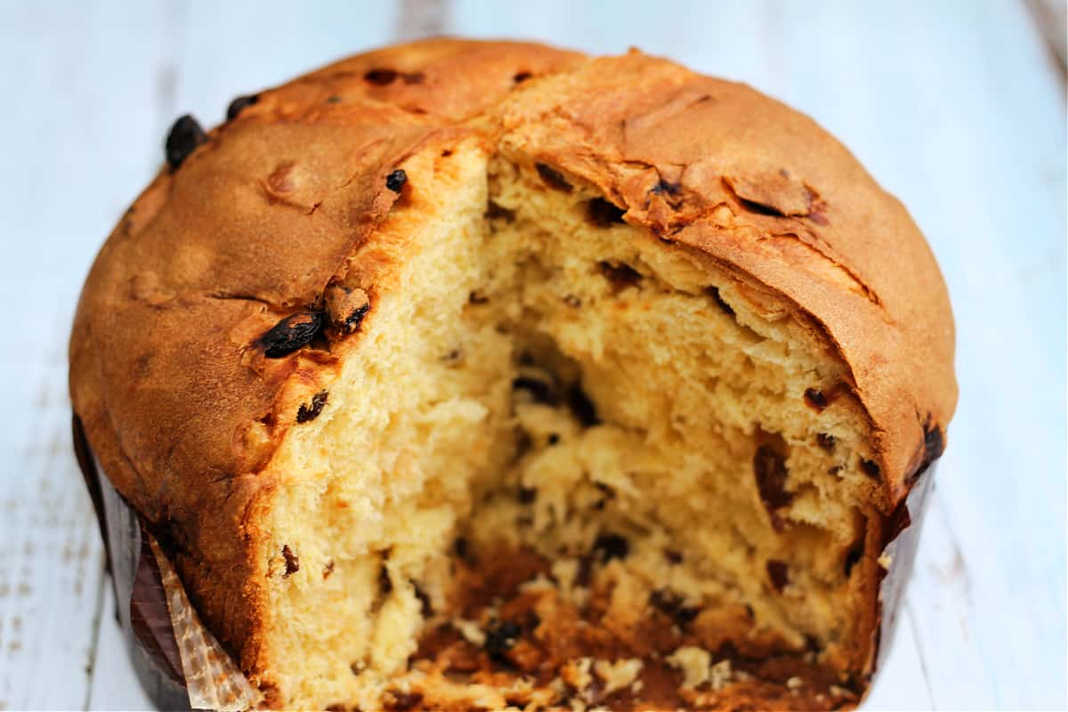 Some leftover Italian panettone, with slices missing.