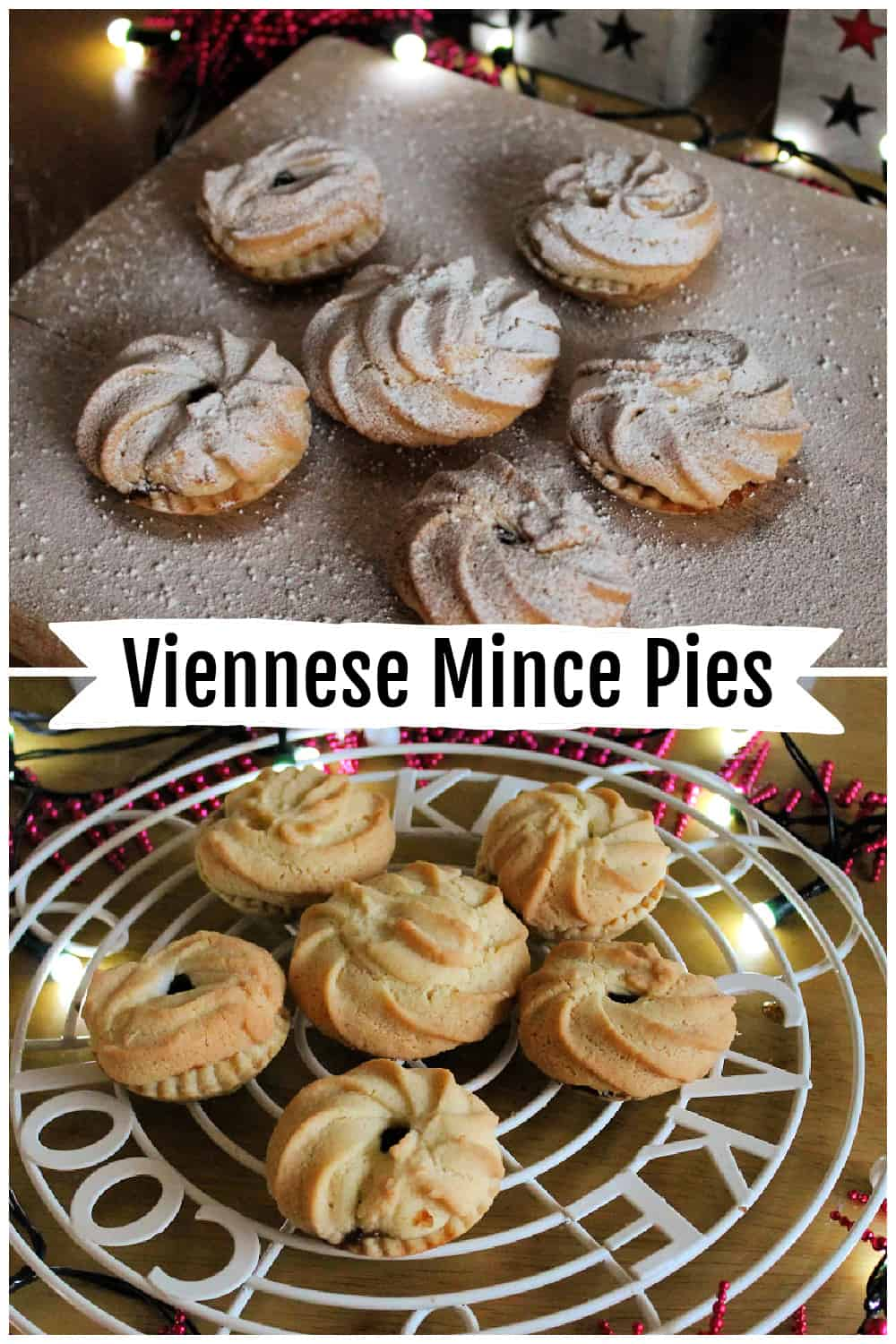 Collage of two images of Viennese mince pies, with text overlay.