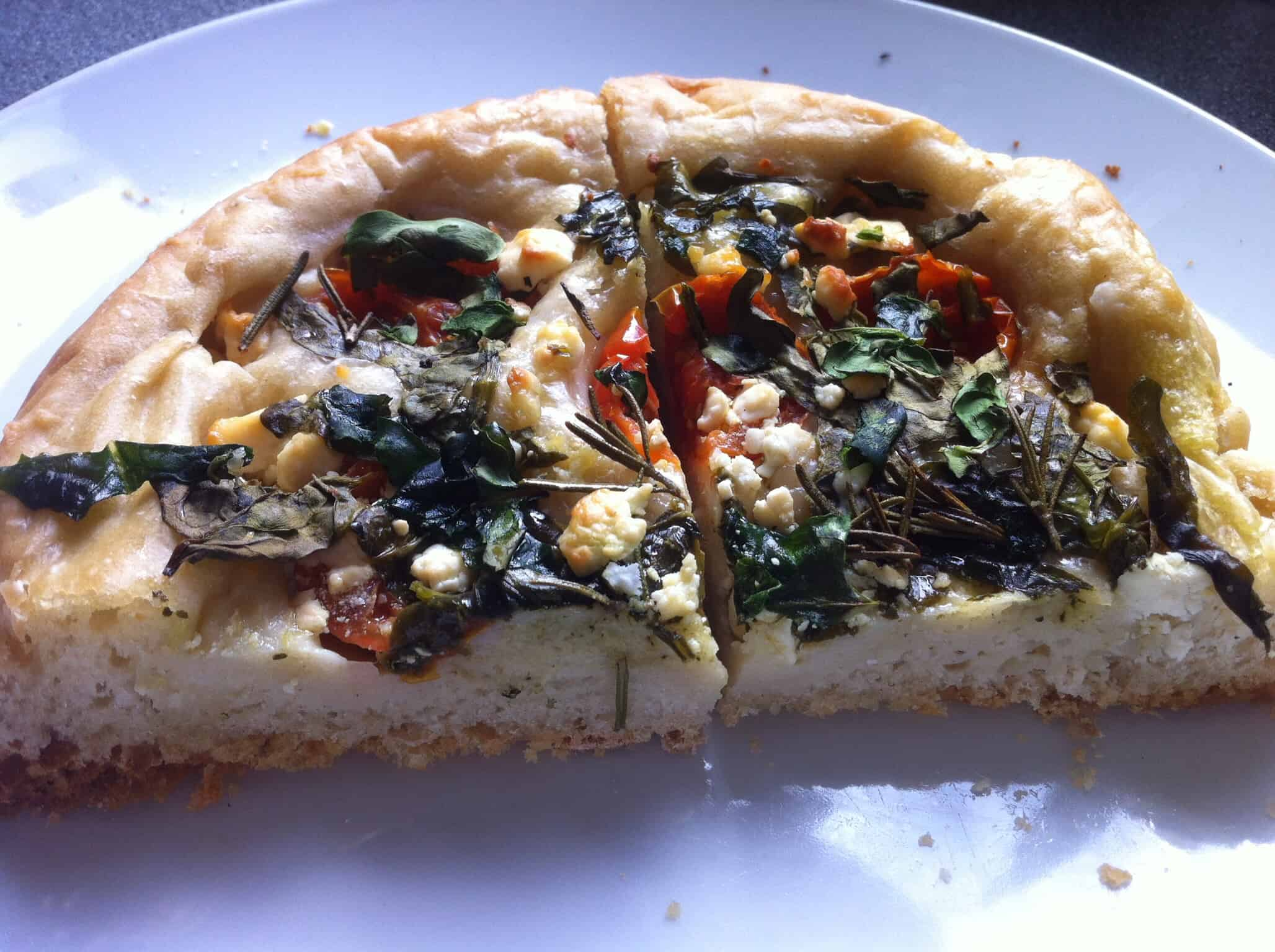 Slow cooker spinach and feta focaccia