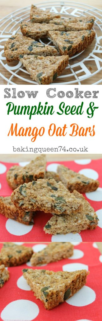 Slow cooker pumpkin seed and mango oat bars - a delicious healthy snack baked easily in your crockpot