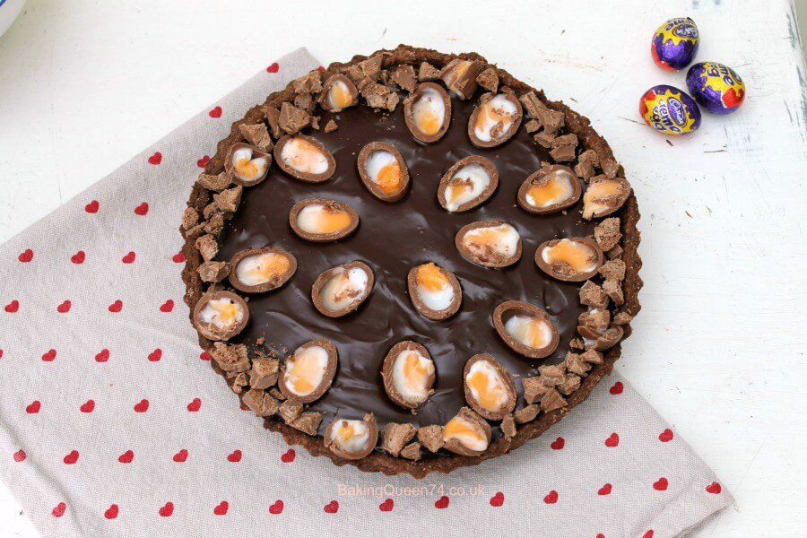 Creme Egg chocolate ganache tart