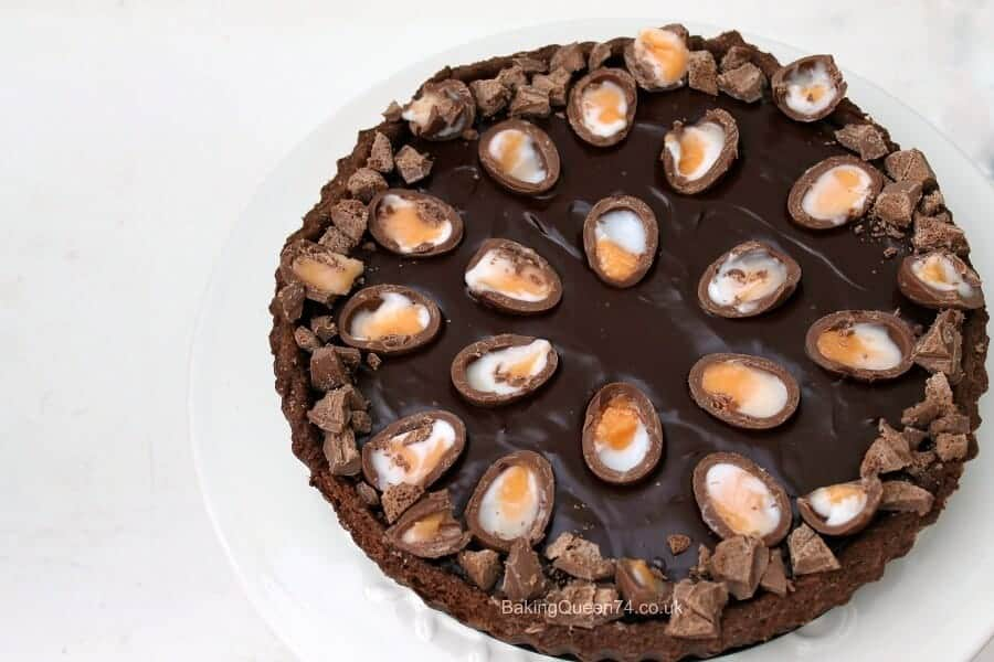 Creme Egg chocolate ganache tart