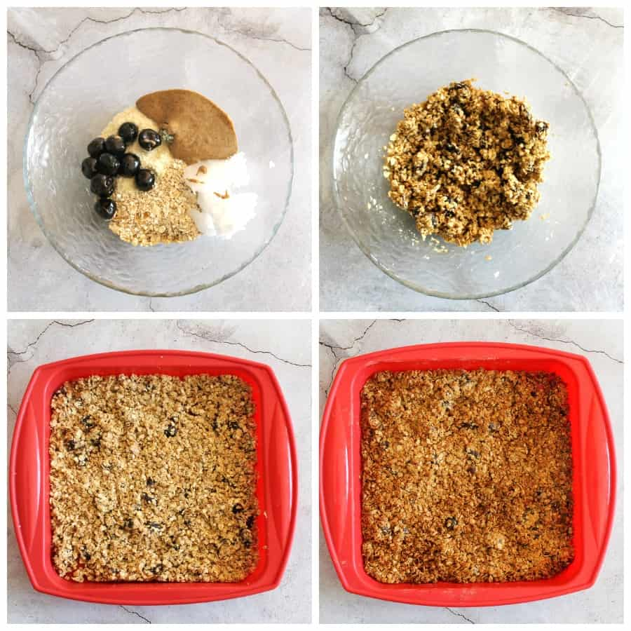 Collage of the steps to make granola.