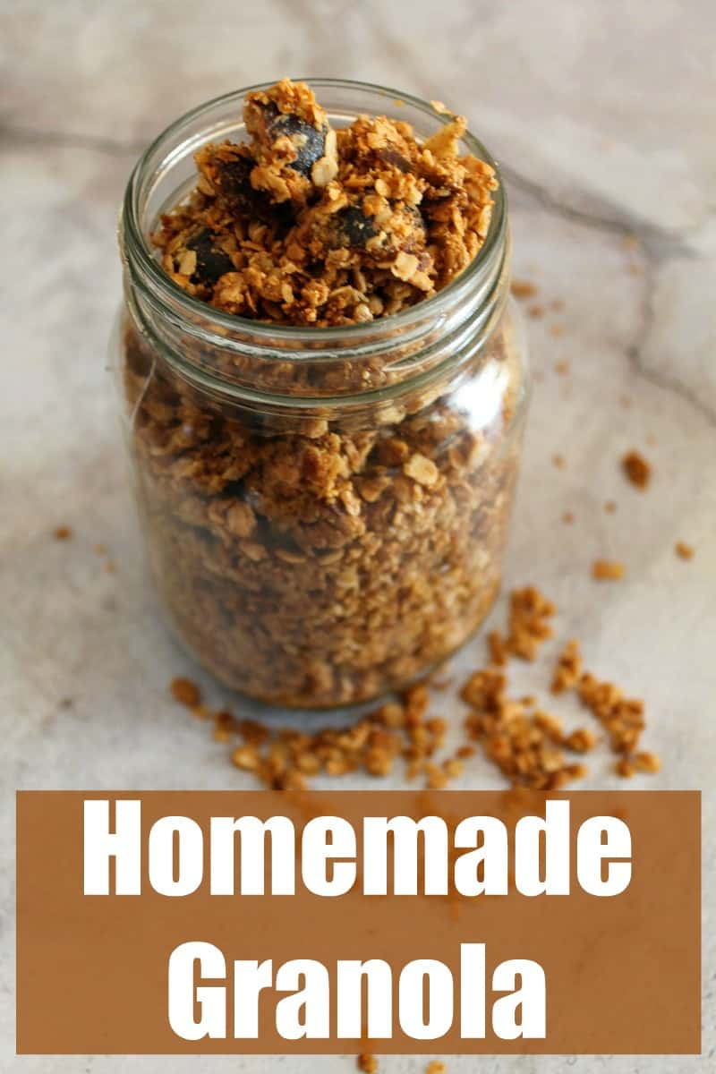 Granola in a glass jar with text overlay title