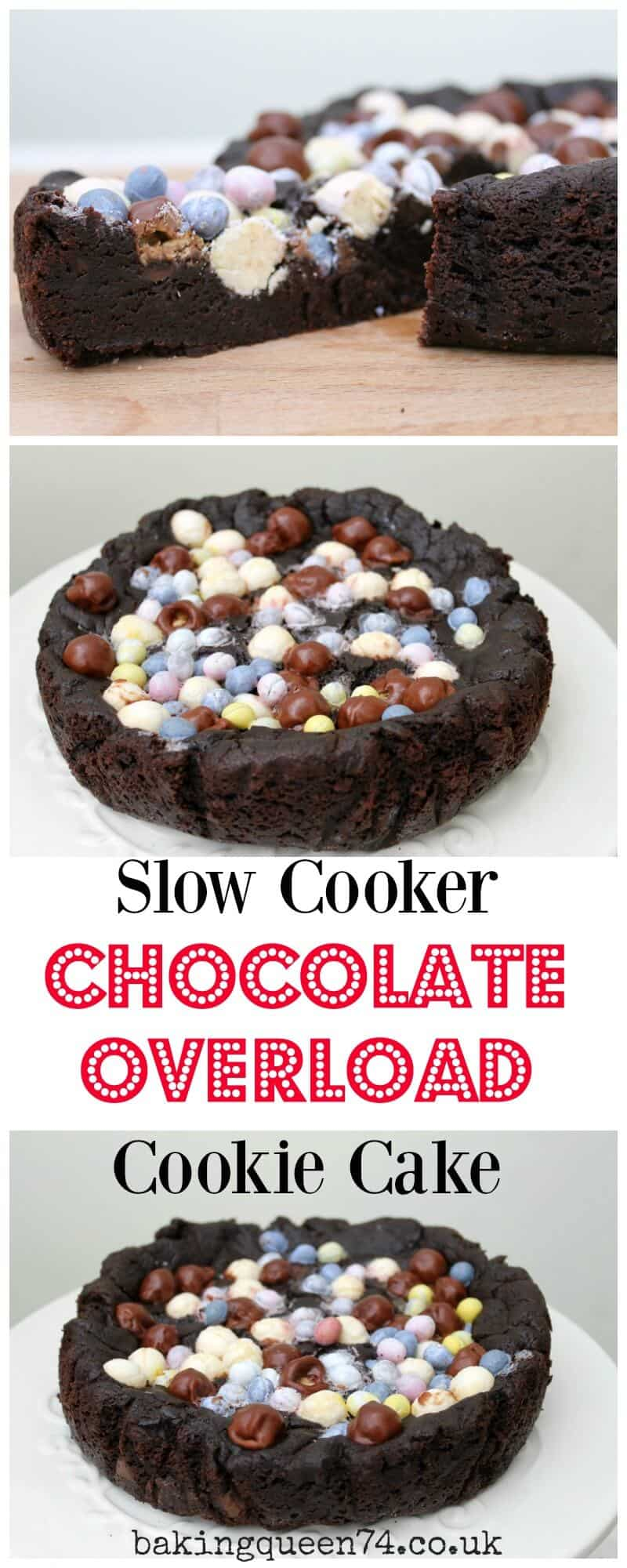 Slow Cooker Chocolate Overload Cookie Cake - BakingQueen74