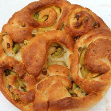 Marzipan and pistachio cardamom buns