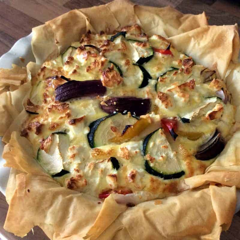 Feta, Pepper and Courgette Filo Pie