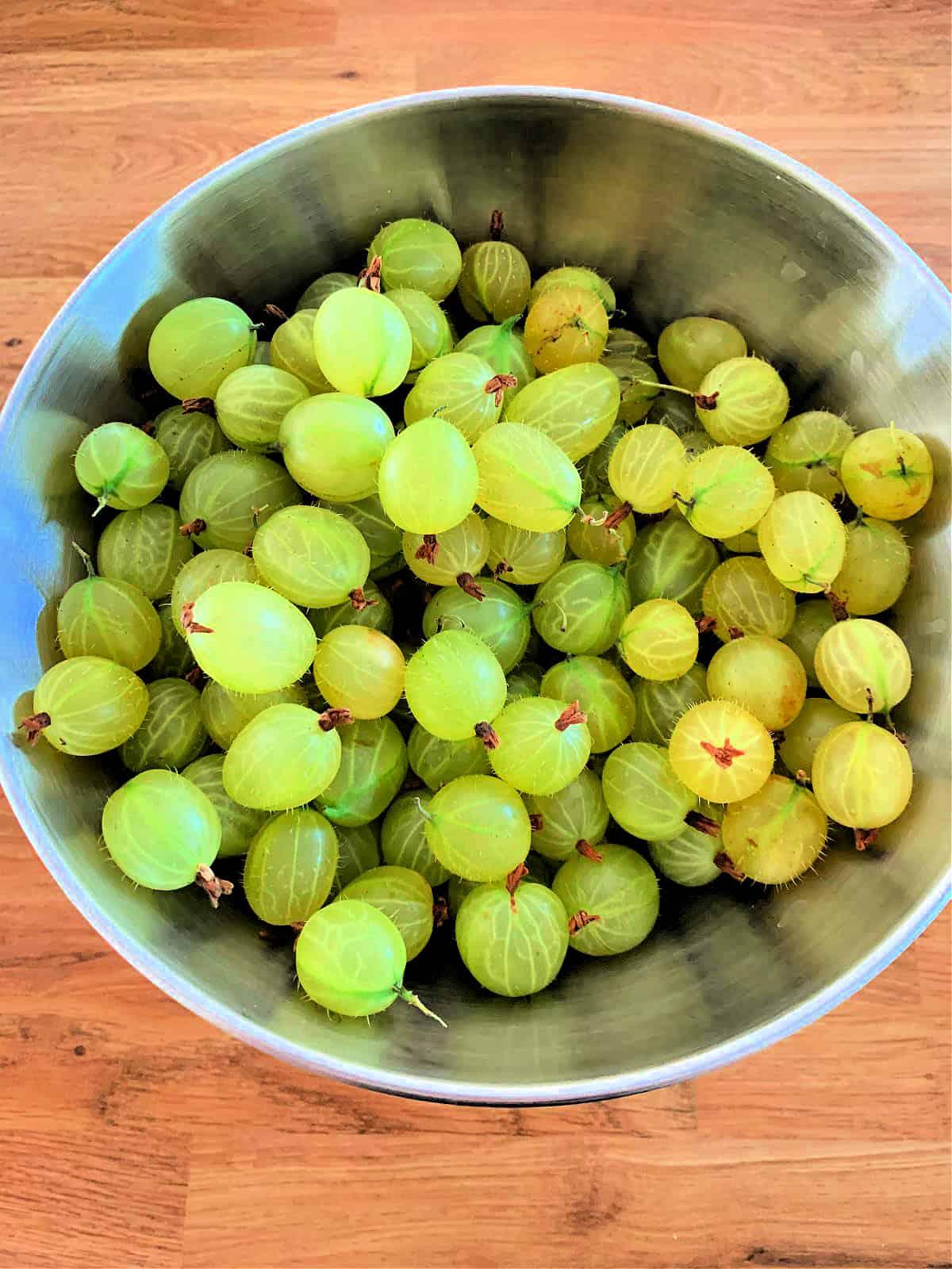 Gooseberries in a metal bowl.
