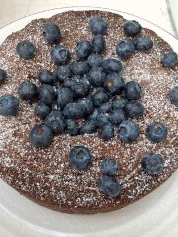 Chocolate, Almond and Blueberry Cake
