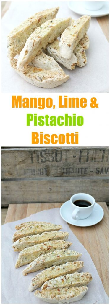 Mango, lime and pistachio biscotti
