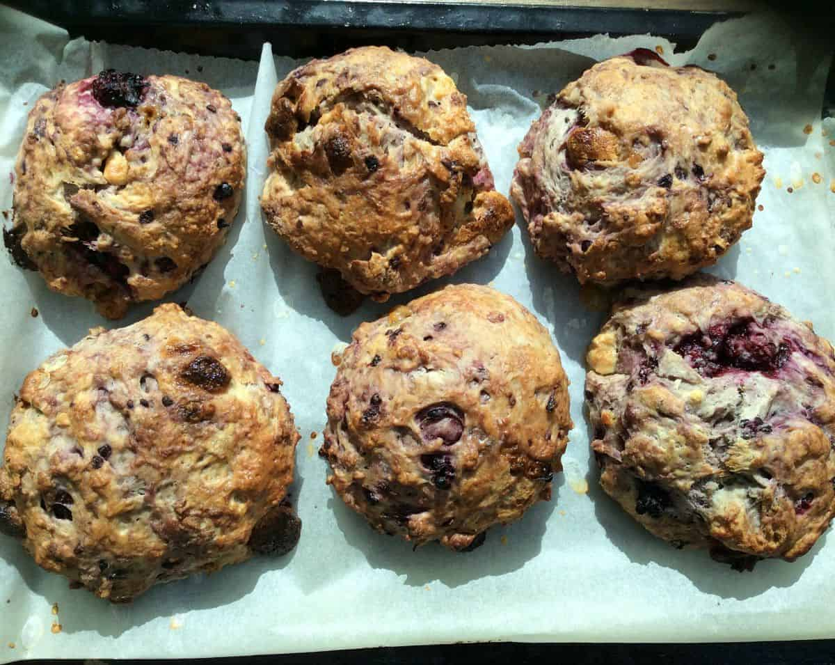 Blackberry, Lemon and White Chocolate Scones