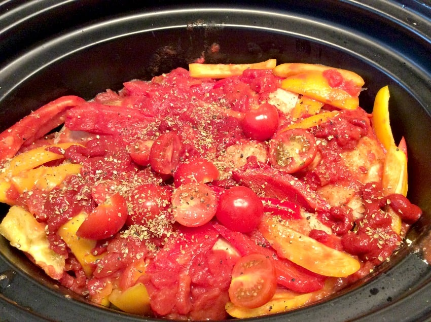 Slow Cooker Chicken Thighs with Tomatoes and Peppers