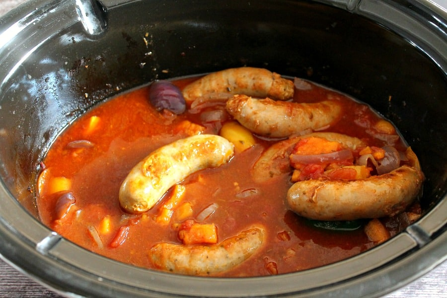 Sausage casserole ready to serve from the slow cooker.