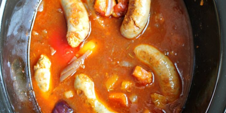 Sausage casserole in the slow cooker.