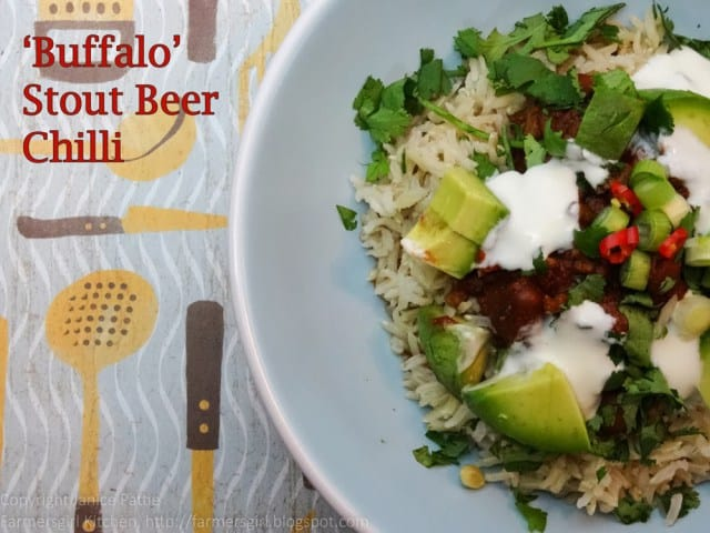 'Buffalo' stout beer chilli from Farmersgirl Kitchen