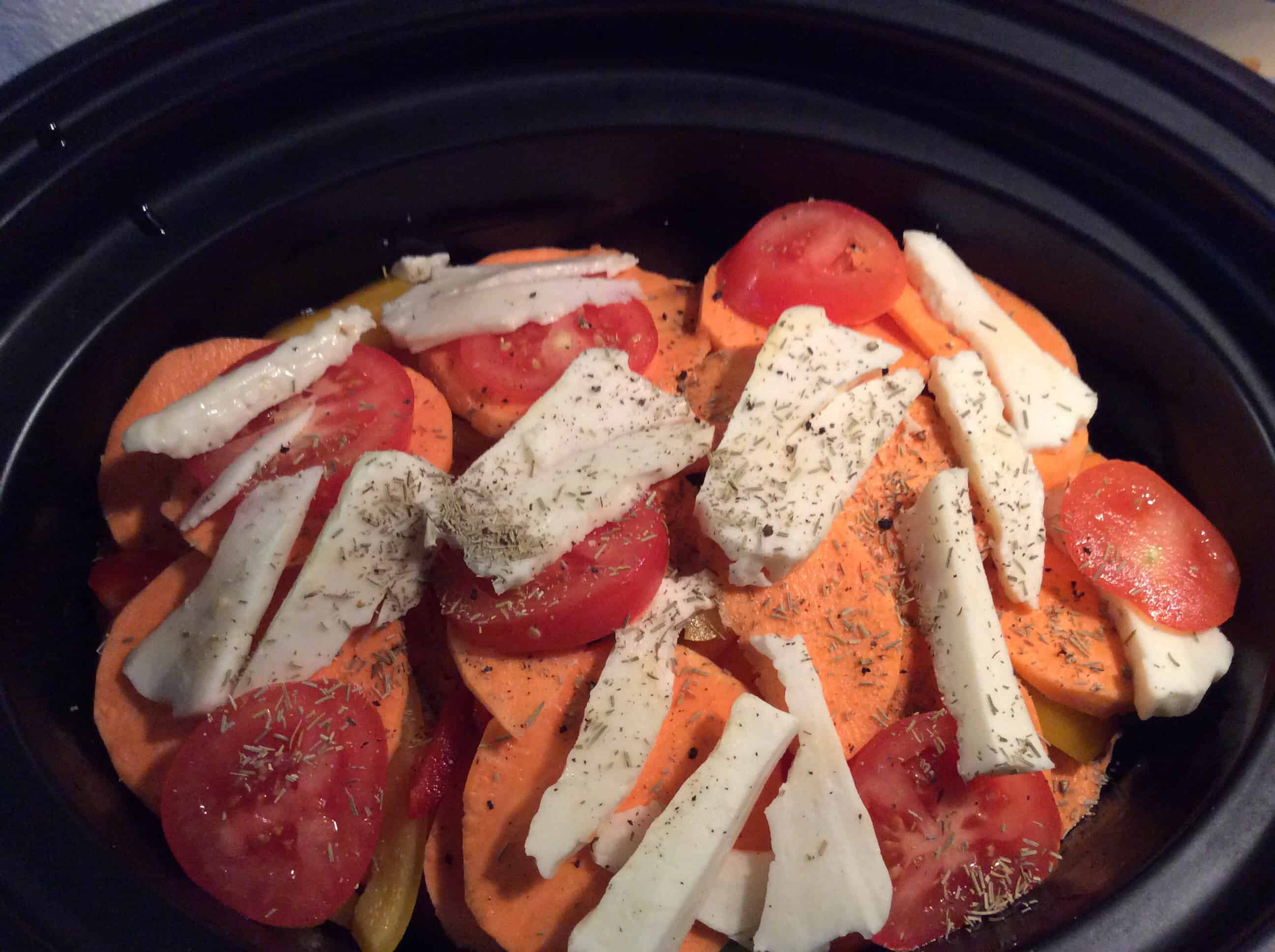 Slow Cooker Halloumi and Sweet Potato Bake