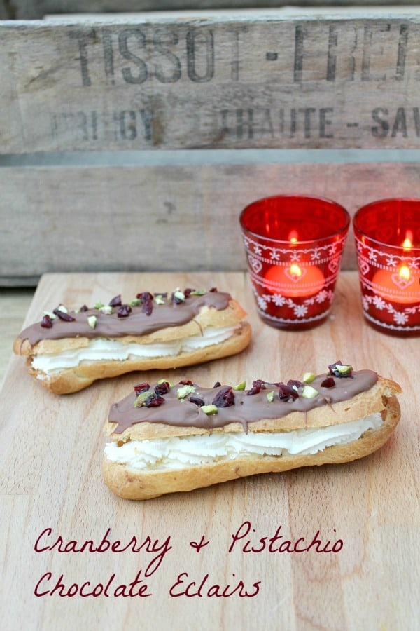Chocolate Eclairs with Cranberry and Pistachio from BakingQueen74