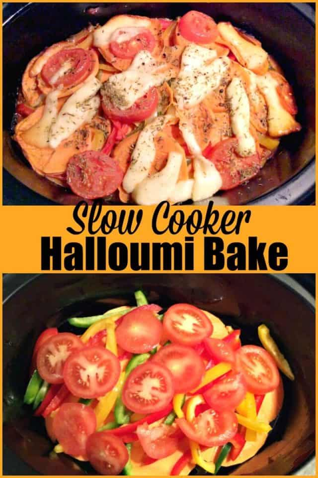 Slow cooker halloumi bake - a vegetarian slow cooker recipe which is ideal for a light meal