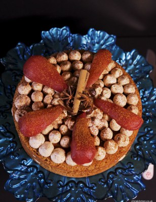 Cinnamon and chestnut cake with mulled wine poached pears from Chins Kitchen