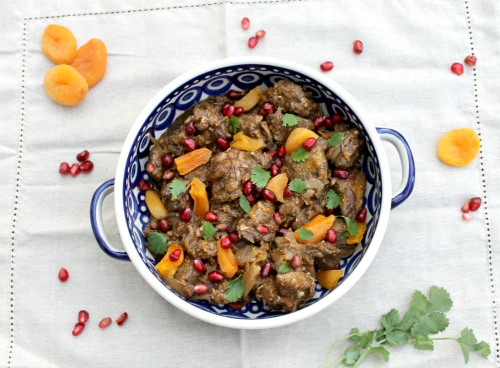 Slow cooker lamb tagine with pomegranates
